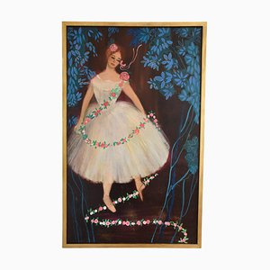 Mid-Century Painting of the Ballerina étoile Claude Bessy, 1950s