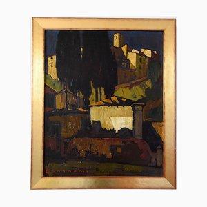 Art Deco Gemälde des Italienischen Dorfes von Cesare Bonanomi, 1930er