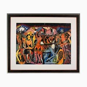 Peinture Aquarelle Mid-Century avec Chevaux par Louis Giraud, 1960s