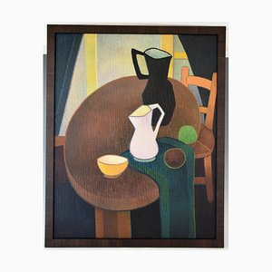 Mid-Century Still Life Interior with Jugs Painting by Albert Labachot, 1960s