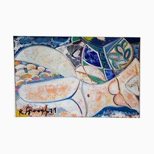 Pintura de una mujer bañista desnuda de Mid-Century de R. Spoogh, 1971