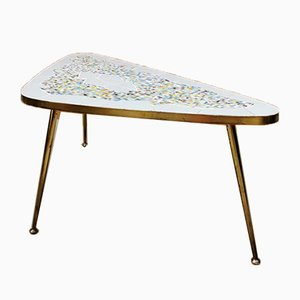 Mosaic & Brass Triangle Coffee Table, 1950s