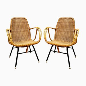 Rattan Garden Armchairs by Dirk van Sliedregt for Rohe Noordwolde, 1950s, Set of 4