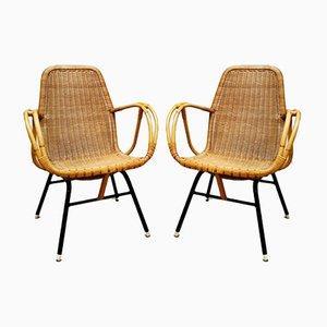 Rattan Gartenstühle von Dirk van Sliedregt für Rohe Noordwolde, 1950er, 4er Set