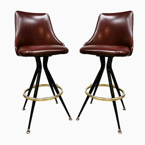 Eclectic Casino Brass Stools, 1960s, Set of 4