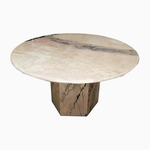 Italian Round Soft Pink Marble Dining Table, 1960s