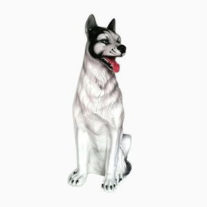 Ceramic Husky Dog Sculpture, 1960s