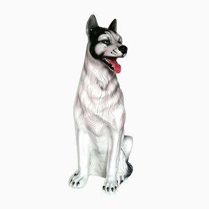 Keramik Husky Hundeskulptur, 1960er