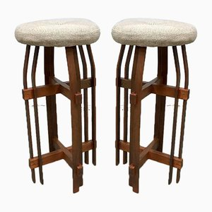 Cubism Art Deco Style Barstools, 1980s, Set of 2
