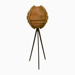 Swedish Pine and Mahogany Floor Lamp by Hans-Agne Jakobsson, 1960s