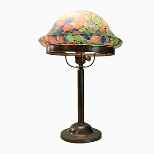 Swedish Art Nouveau Glass and Copper Table Lamp, 1920s