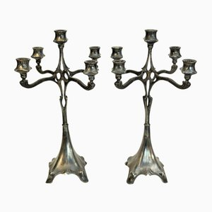 Large Art Nouveau Silver Plate Candleholders, 1900s, Set of 2