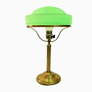 Swedish Art Nouveau Brass and Glass Table Lamp from Karlskrona Lampfabrik, 1920s