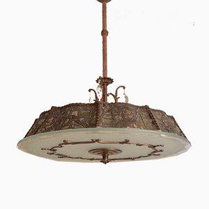Swedish Grace Art Deco Raw Glass and Bronze Pendant Lamp, 1920s