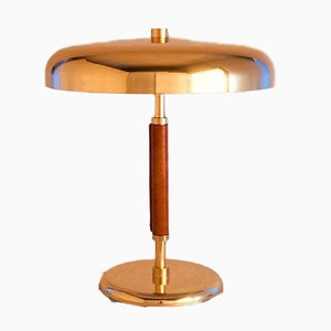 Large Art Deco Style Swedish Brass and Leather Table Lamp by ÖIA, 1970s
