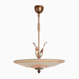 Swedish Art Deco Raw Glass Mermaids Pendant Lamp, 1930s