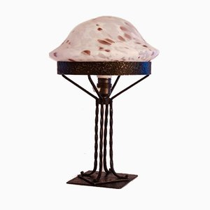 Swedish Wrought Iron and Glass Table Lamp, 1915