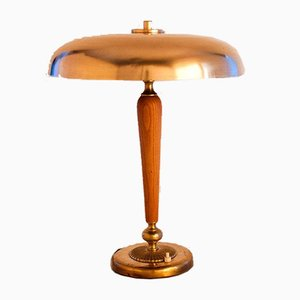 Large Swedish Art Deco Brass and Oak Table Lamp, 1930s