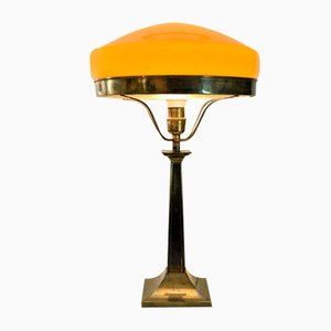 Large Swedish Art Deco Brass and Glass Table Lamp, 1930s