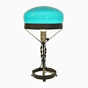 Swedish Art Nouveau Wrought Iron and Hand Blown Glass Table Lamp