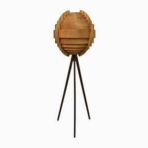 Swedish Ellysett Pine and Mahogany Floor Lamp by Hans-Agne Jakobsson, 1960s