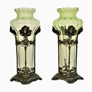 Antique German Art Nouveau Glass and Silverplate Vases from WMF, Set of 2