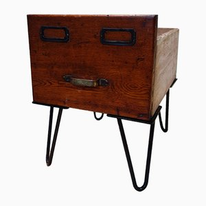 Antique Banker's Drawer on Hairpin Legs