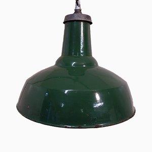 Green Enamel Factory Ceiling Lamp, 1940s