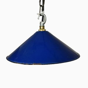 Vintage French Blue Enamel Shade and Fitting