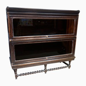 Victorian Ebonized Barristers Glass Fronted Bookcase by Globe Wernicke