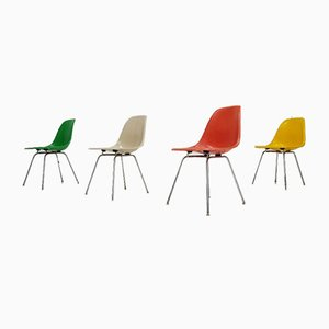 Multicoloured Fibreglass Chromed Steel DSX Chairs by Charles and Ray Eames for Herman Miller, Set of 4