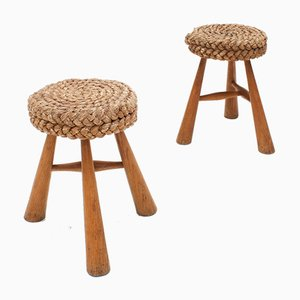 Vintage French Rustic Stools with Braided Rush Rope Seat, Set of 2