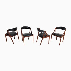 Model 31 Teak A Frame Chairs by Kai Kristiansen for Schou Andersen, 1960s, Set of 4