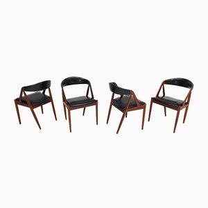 Modell 31 Teakholz A Frame Stühle von Kai Kristiansen für Schou Andersen, 1960er, 4er Set