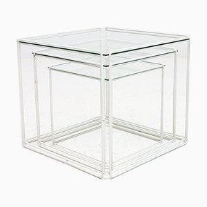 Mesas nido Isosceles en blanco con tablero de vidrio de Max Sauze, años 70
