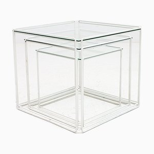 White Isosceles Glass Top Nesting Tables by Max Sauze, 1970s