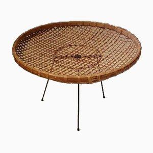 Vintage Dutch Braided Rattan and Black Tripod Base Magazine Basket