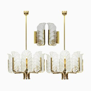 Swedish Brass Leaf Light Fixtures by Carl Fagerlund for Orrefors, 1960s, Set of 4
