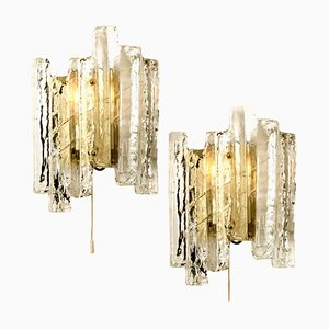 Austrian Ice Glass Sconces, 1960s, Set of 2