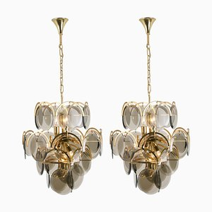 Italian Smoked Glass and Brass Chandeliers in the Style of Vistosi, 1960s, Set of 2
