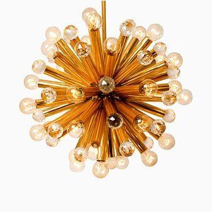 Gilt Brass Pendant Lamp with Swarovski Balls by Ernst Palme, 1960s