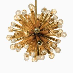Deckenlampe aus Swarovski Kristallglas und vergoldetem Messing von Ernst Palme, 1960er
