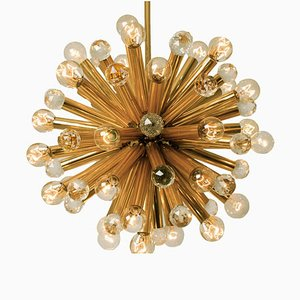 Swarovski Crystal and Gilt Brass Flush Mount by Ernst Palme, 1960s
