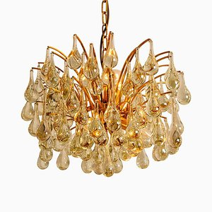 Large German Brass and Crystal Chandelier by Ernst Palme, 1960s, Set of 2
