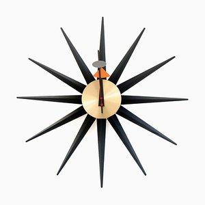 Schwarze & Messing Sunburst Uhr von George Nelson für Vitra