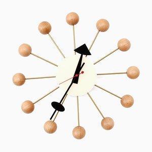 Horloge Balle Naturelle en Hêtre par George Nelson pour Vitra