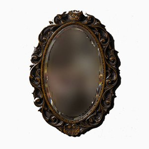 Antique Edwardian Carved Oak Mirror