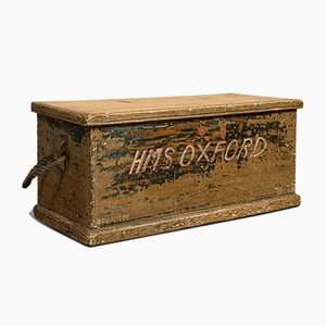 Antique Victorian English Pinewood Merchants Trunk, 1850s
