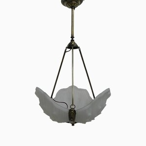 Art Deco Opaline Glass Ceiling Lamp, 1930s