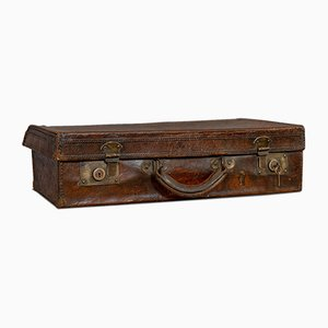 Antique Edwardian English Oak and Leather Gentleman's Travel Suitcase, 1910s